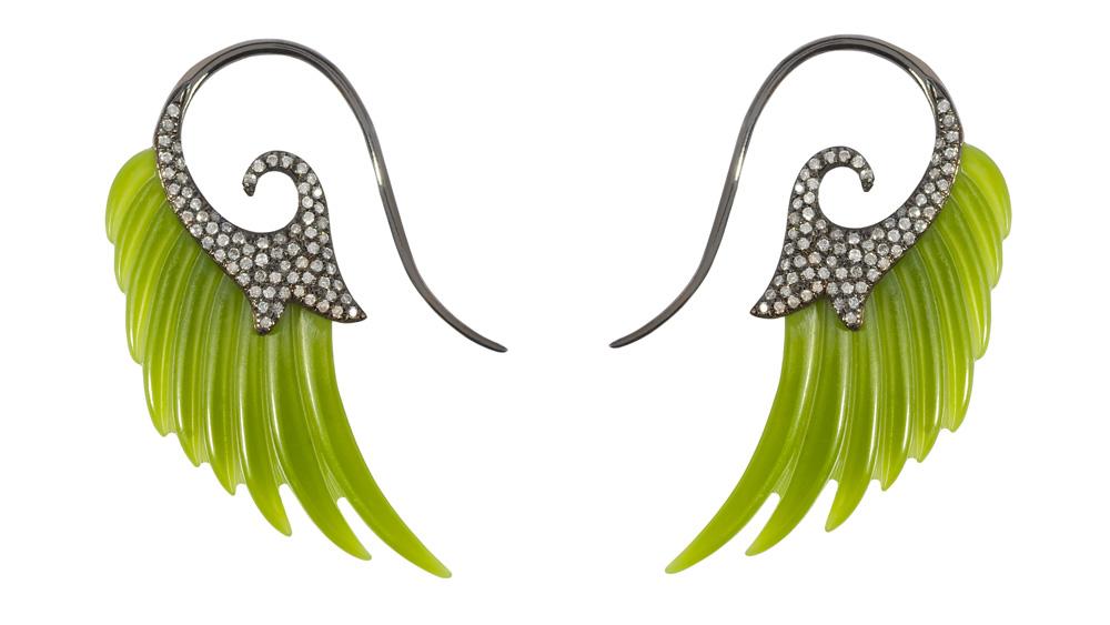 Noor Fares jade wing earrings