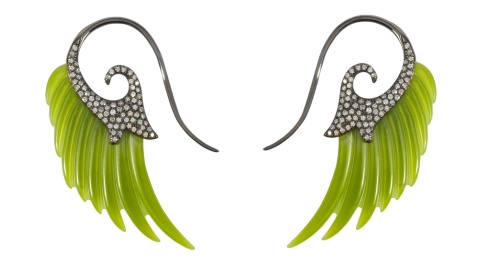 Noor Fares jade wing earrings