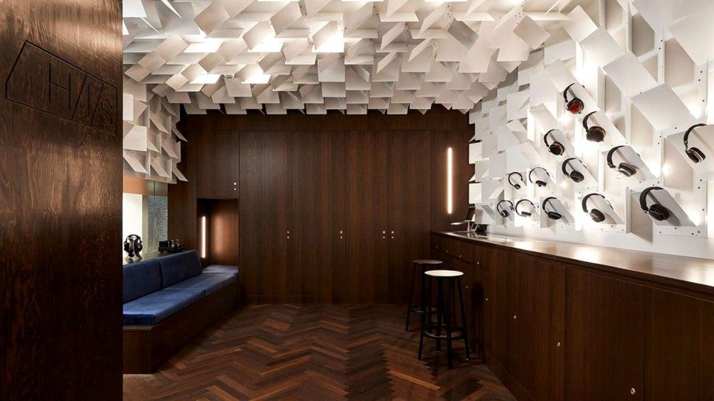 Wood and metal interior headfoneshop