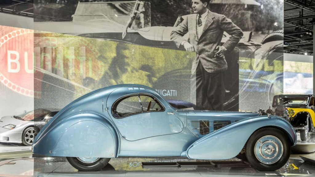 The award-winning 1936 Bugatti Type 57SC Atlantic on display at the petersen Automotive Museum as part of its Art of Bugatti exhibition.