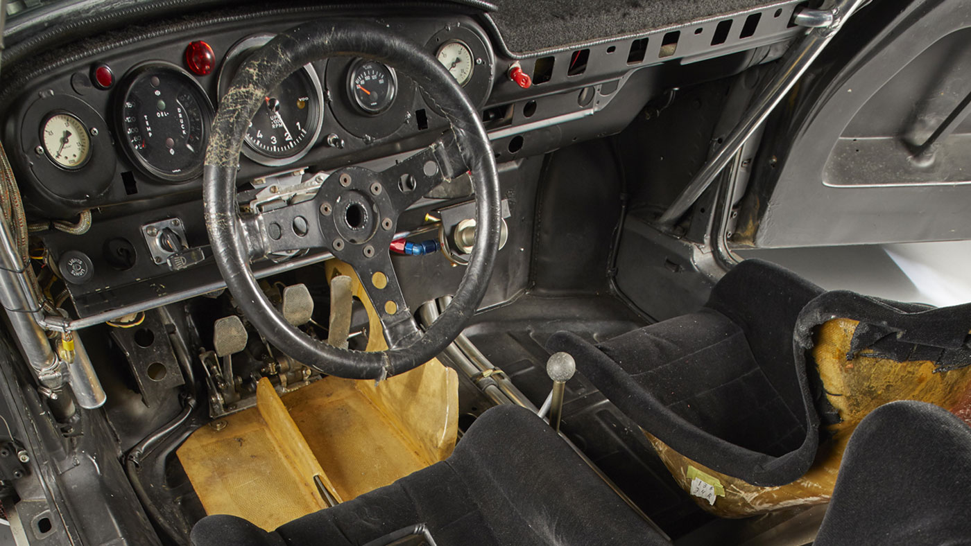 The interior of a Le Mans–raced 1974 Porsche 911 Carrera RSR 2.1 Turbo.