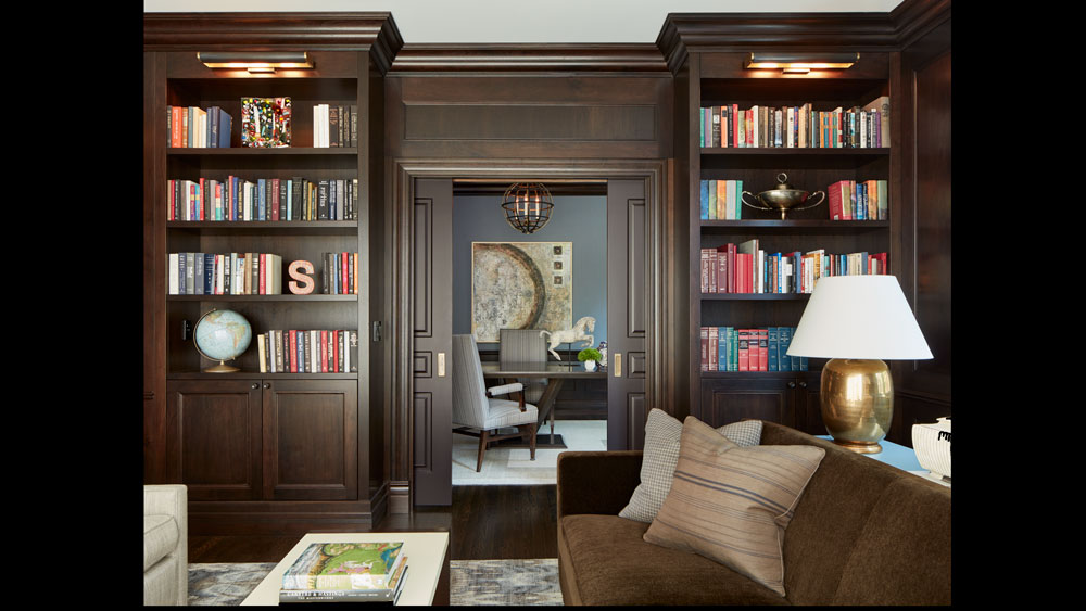 Traditional dark wood library in Chicago