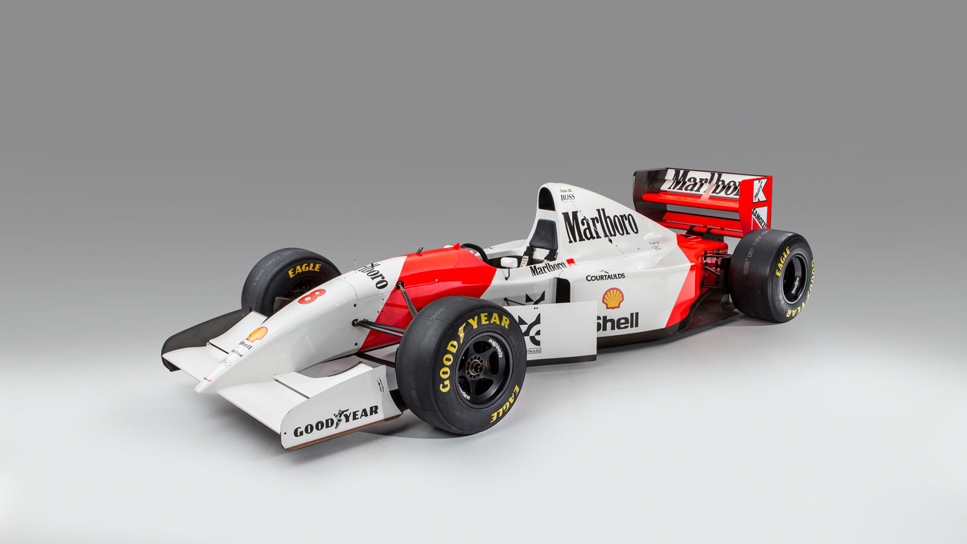 The 1993 McLaren-Ford MP4/8A driven by Ayrton Senna.