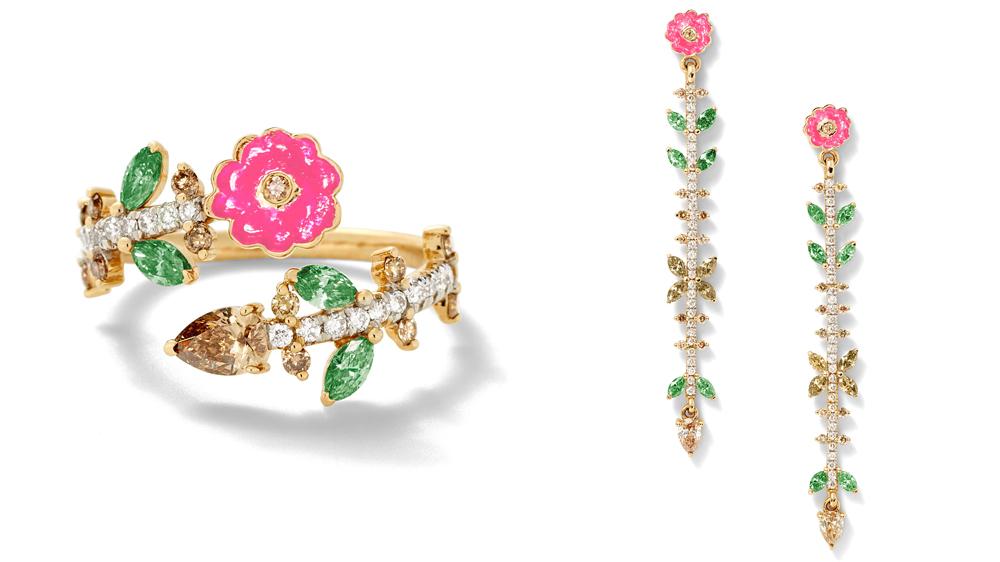 Arpana Rayamajhi diamond ring and earrings