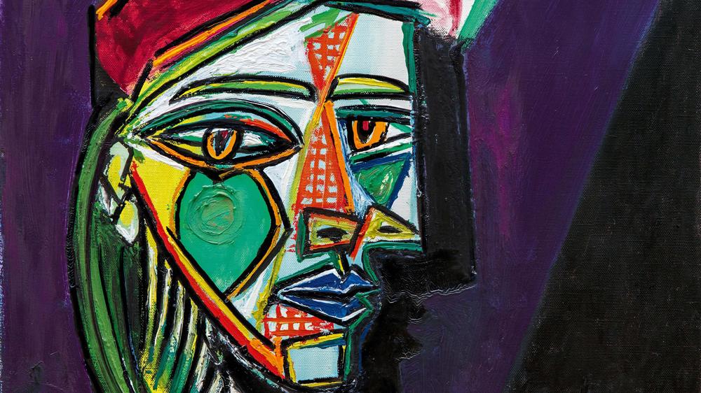 Pablo Picasso Femme au béret et à la robe quadrillée