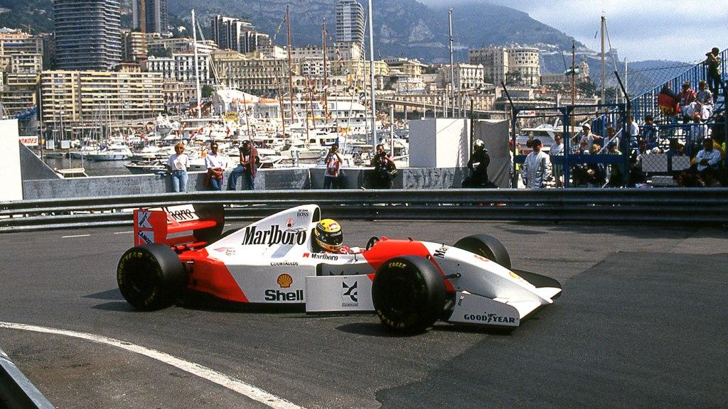 Ayrton Senna on his way to victory at the 1993 Monaco Grand Prix.