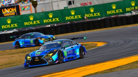 Lexus race cars in the heat of competition during the 2018 Rolex 24 at Daytona.