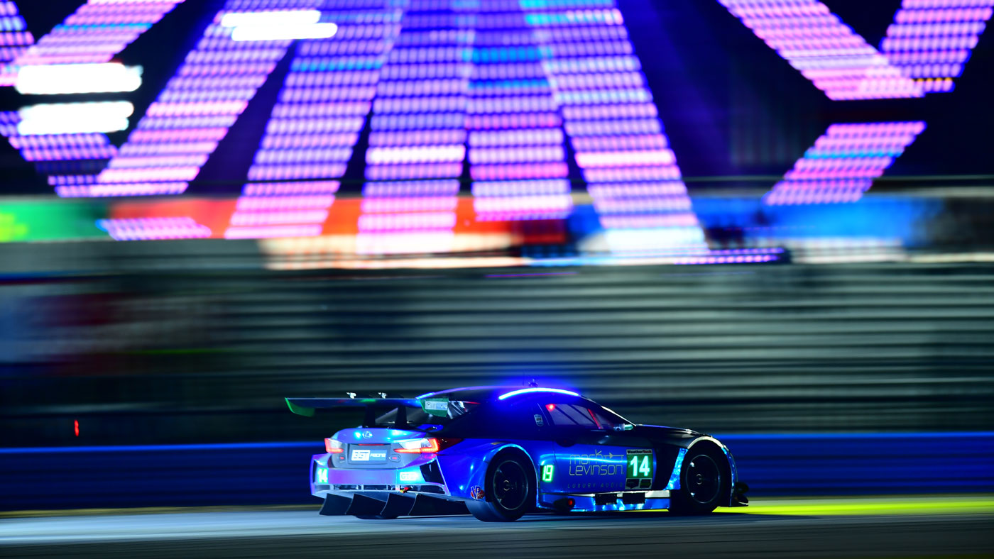Lexus running a GTD-spec version of its RC F coupe at the 2018 Rolex 24 at Daytona.
