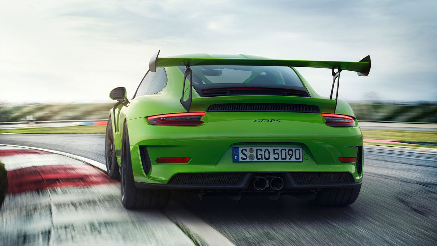 The New Porsche 911 GT3 RS on a track.