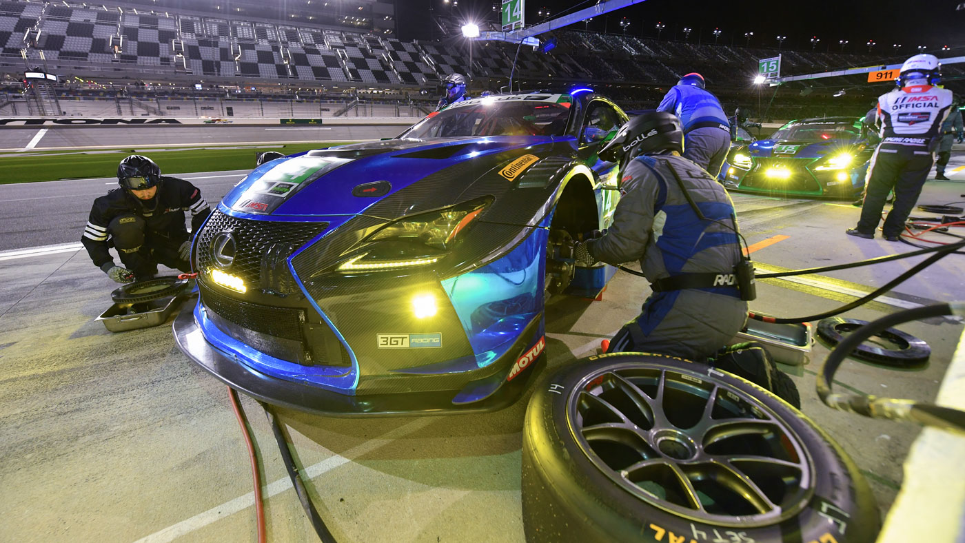 A Lexus entry parked for a quick pit stop at the 2018 Rolex 24 at Daytona.