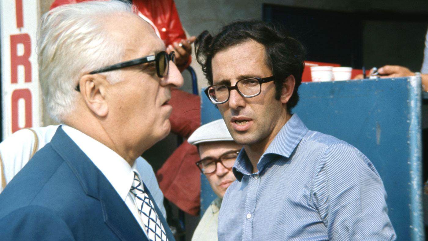 Ferrari engineer Mauro Forghieri with Enzo Ferrari (foreground).