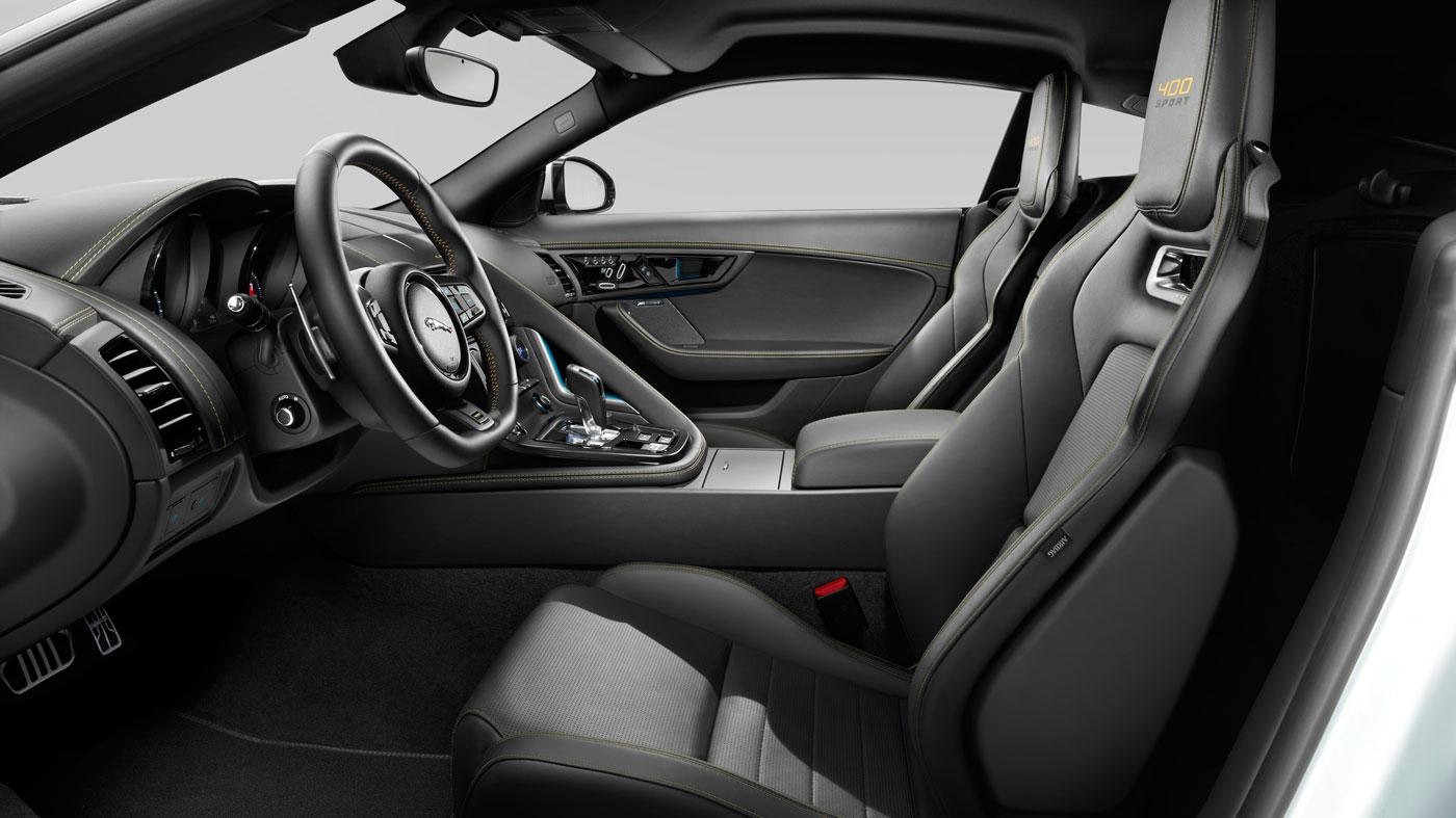 The interior of the Jaguar F-Type 400 Sport.