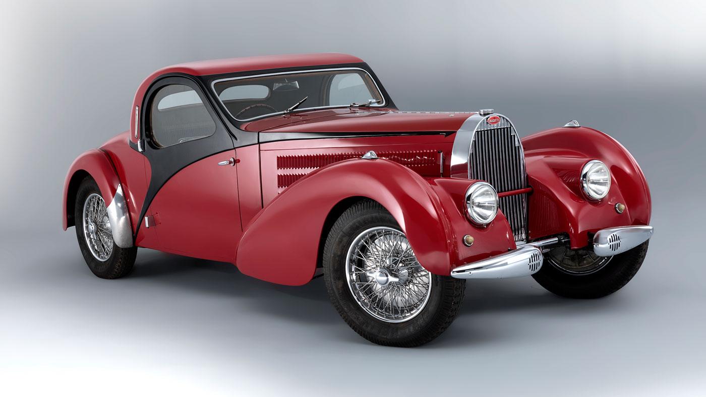 A 1938 Bugatti Type 57C Coupe.