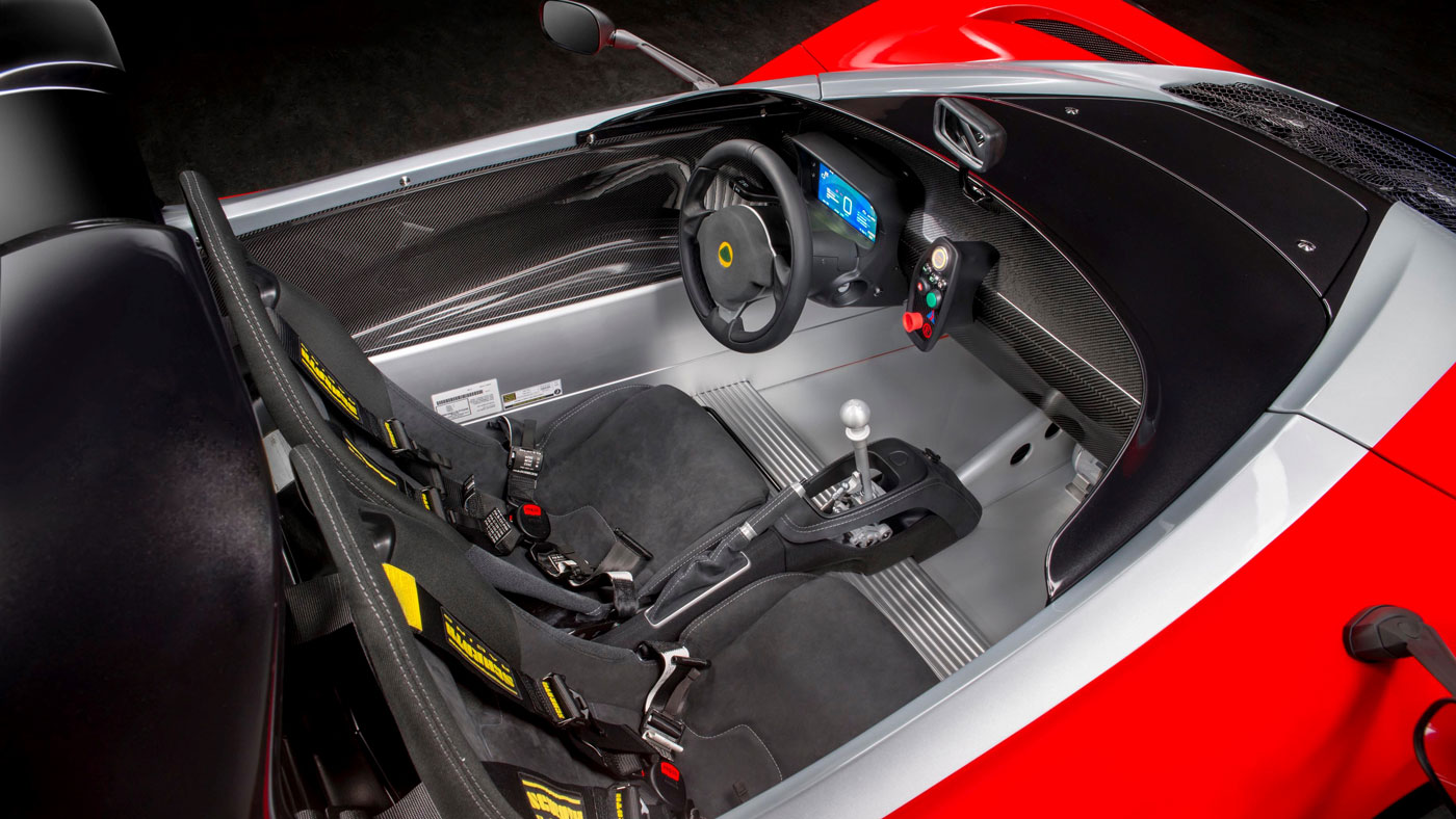 The cockpit of the Limited-Edition Lotus 3-Eleven 430.