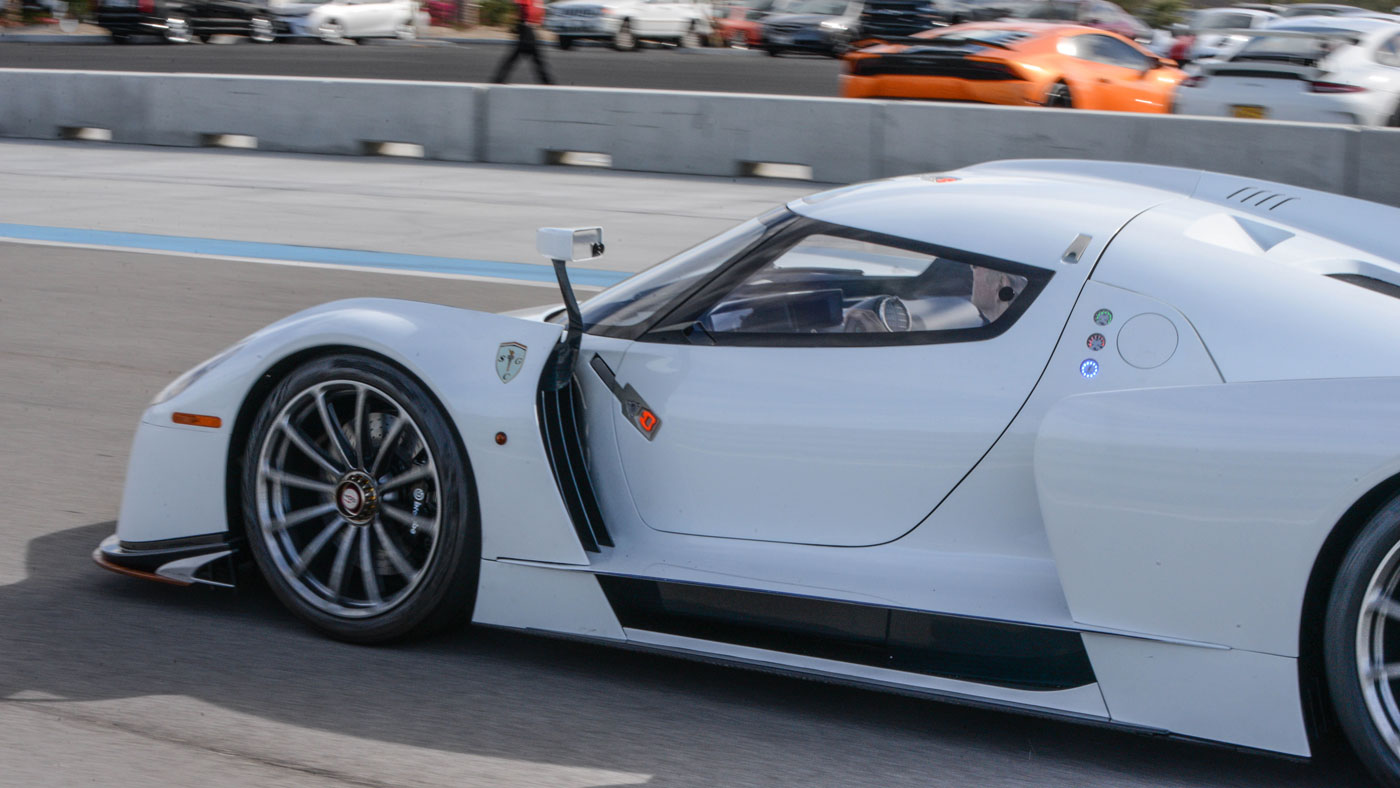 Testing the 003S on the track at Thermal Club, near Palm Springs, Calif.