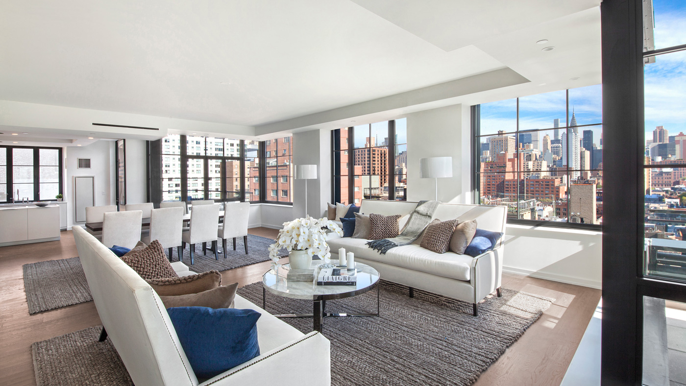 This 5-bedroom, 5.5 bath Sky Duplex is currently on the market for $10.995 million. Steve Gold at Town Residential has the listing.