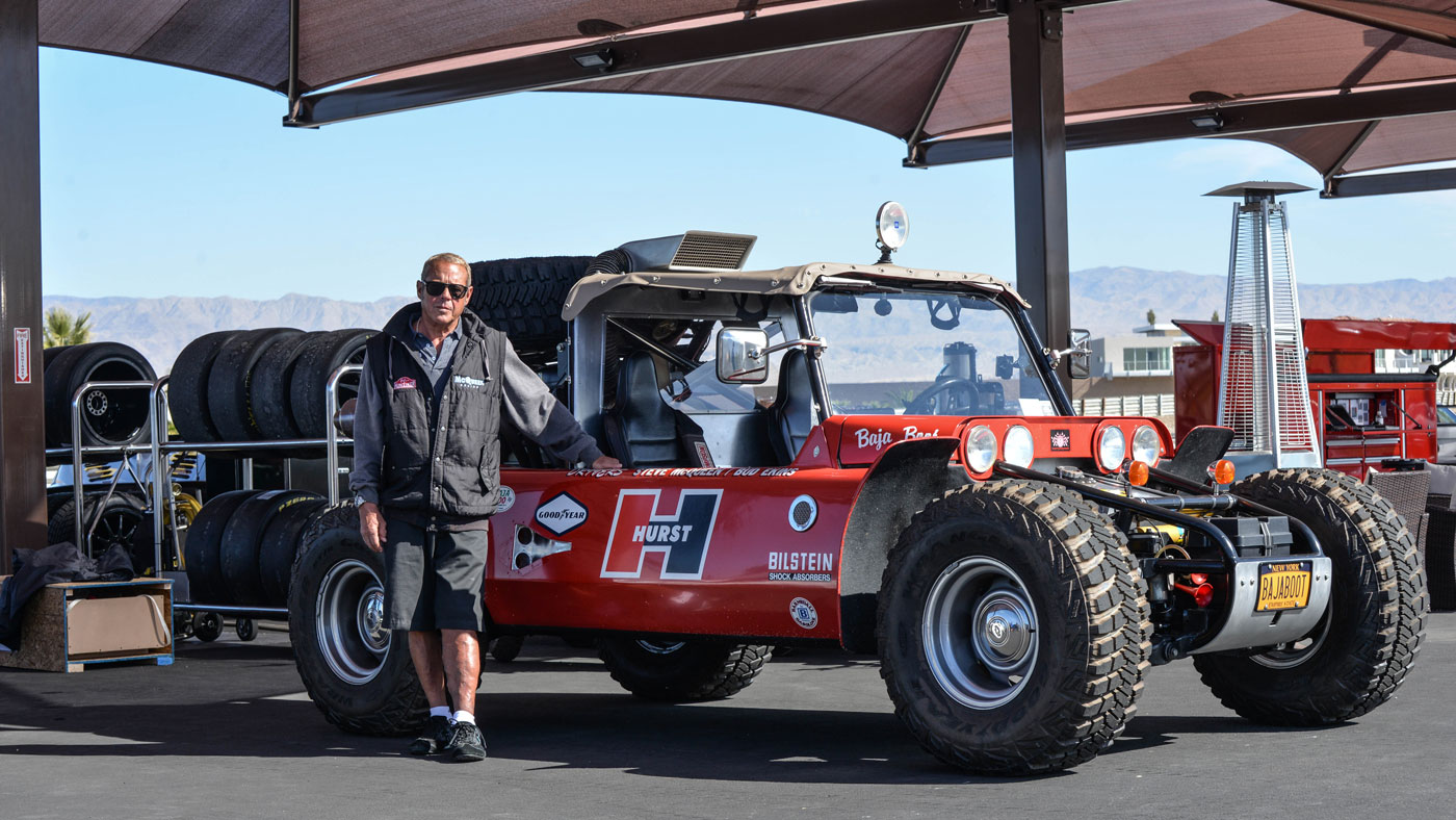 """Chad McQueen stands by the """"Baja Boot: buggy once owned by his father Steve."""