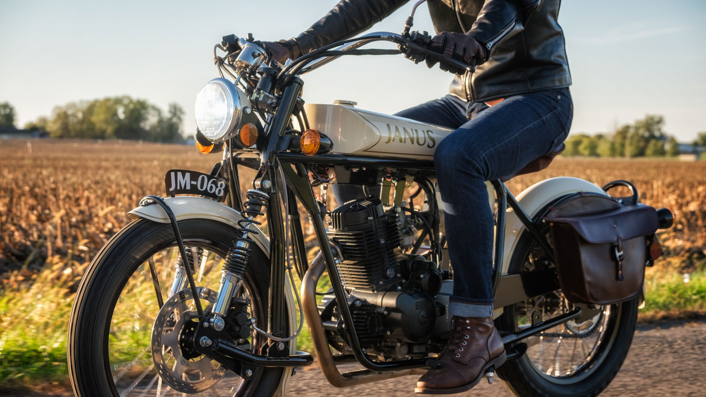 Cruising the countryside on a Halcyon 250 from Janus Motorcycles.