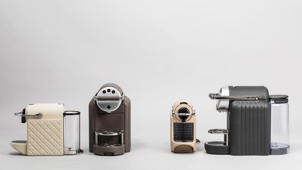 Leather Nespresso machines from Giobagnara