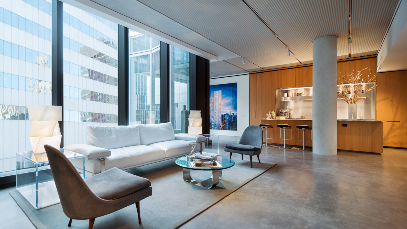 living area at 100 East 53rd Street
