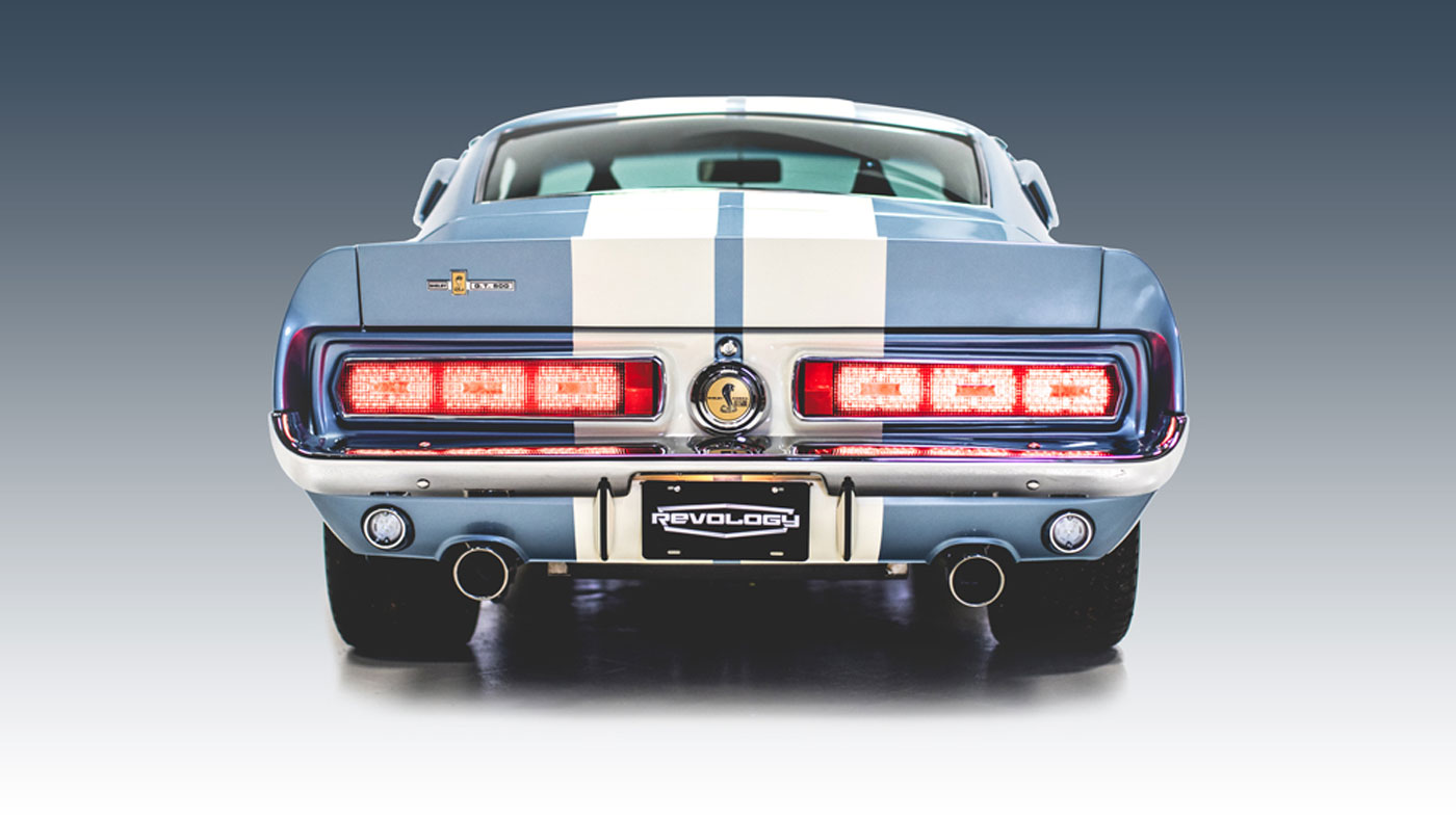 Rear view of the Revology 1967 Shelby GT500.