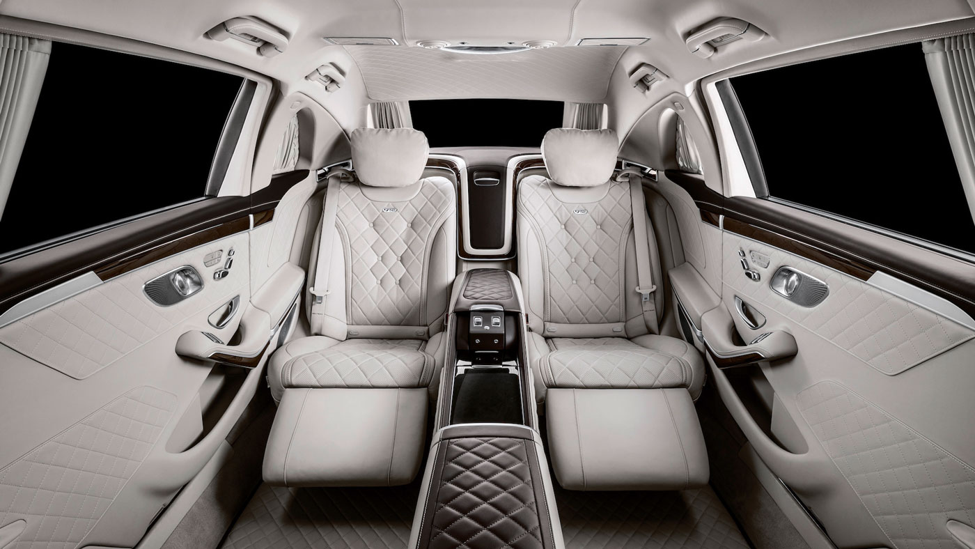 The interior of the Mercedes-Maybach Pullman.