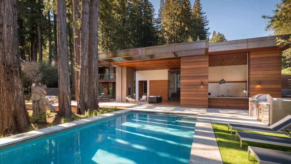 backyard swimming pool and barbecue