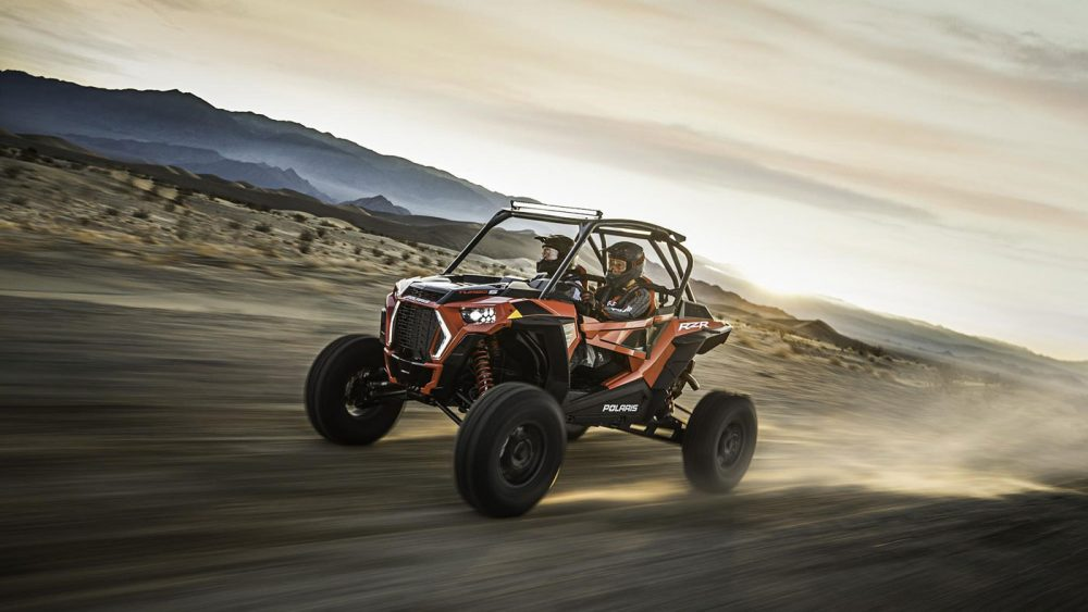 The Polaris RZR XP Turbo S racing through the Nevada desert.