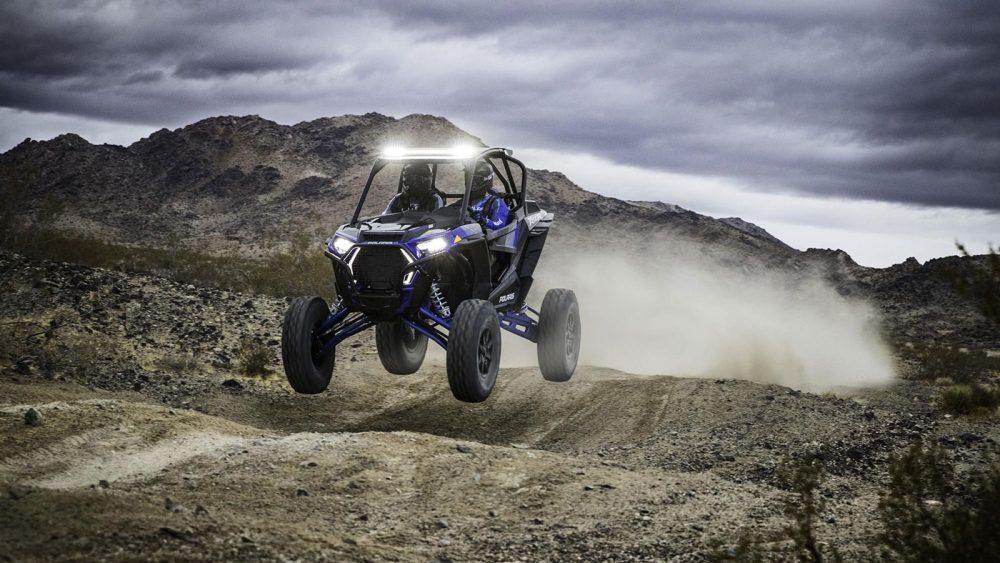 The Polaris RZR XP Turbo S racing through the Nevada desert.