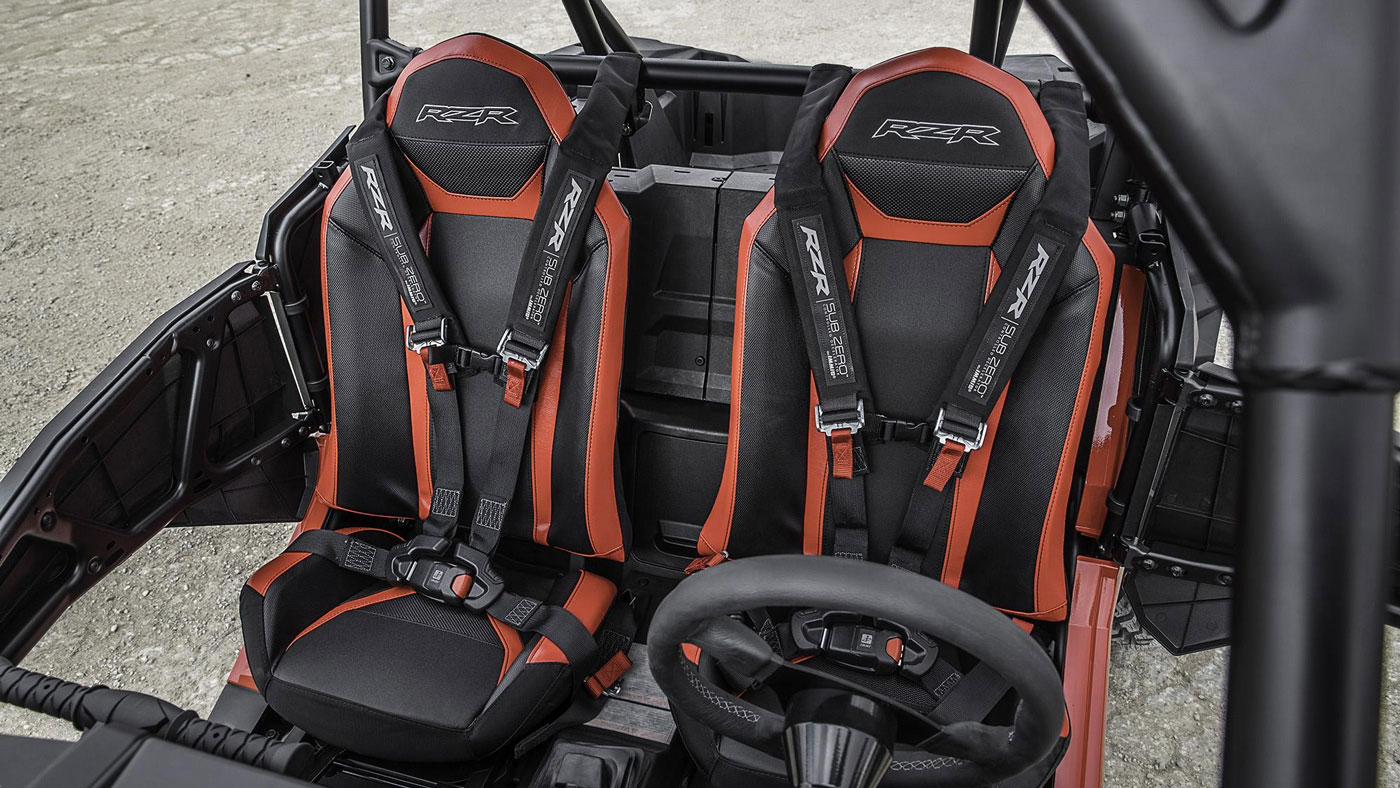 The seat configuration in the Polaris RZR XP Turbo S.
