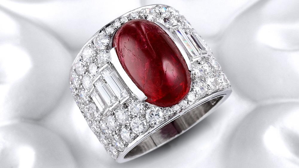 Bulgari Burmese Ruby Diamond Trombino Ring