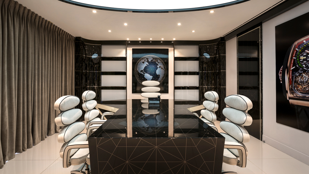 Executive boardroom in the newly revamped Jacob & Co. flagship.