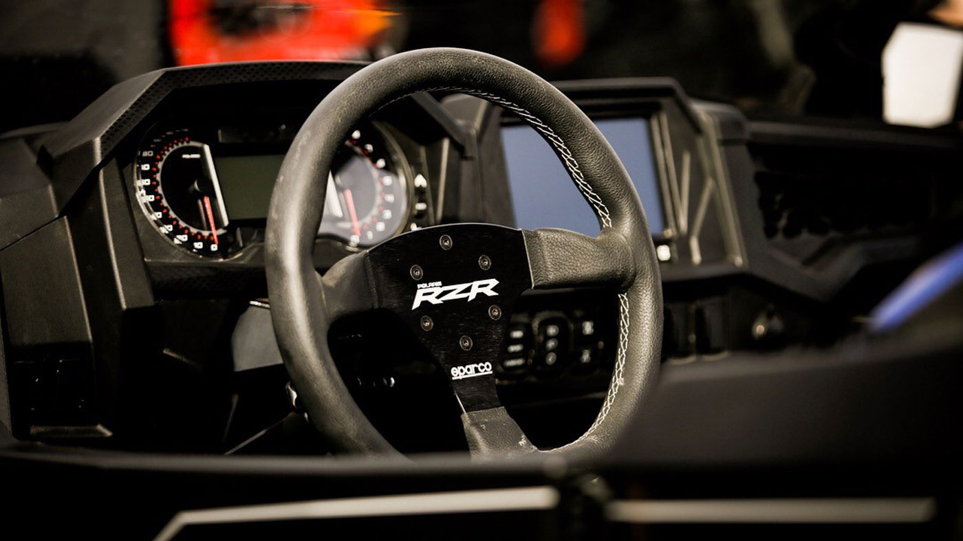 The steering wheel of the Polaris RZRT XP Turbo S.