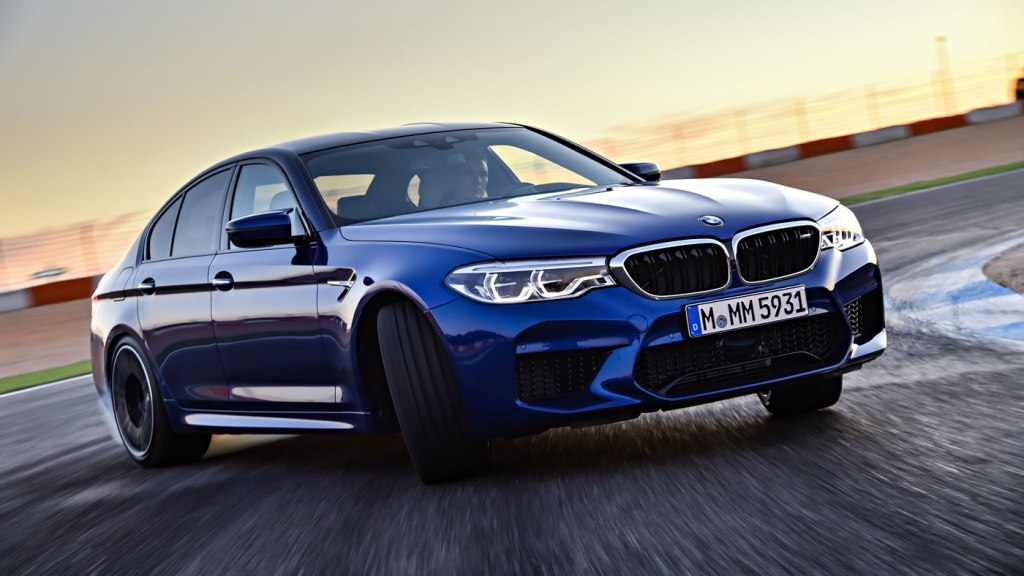 The BMW M5 on a track.