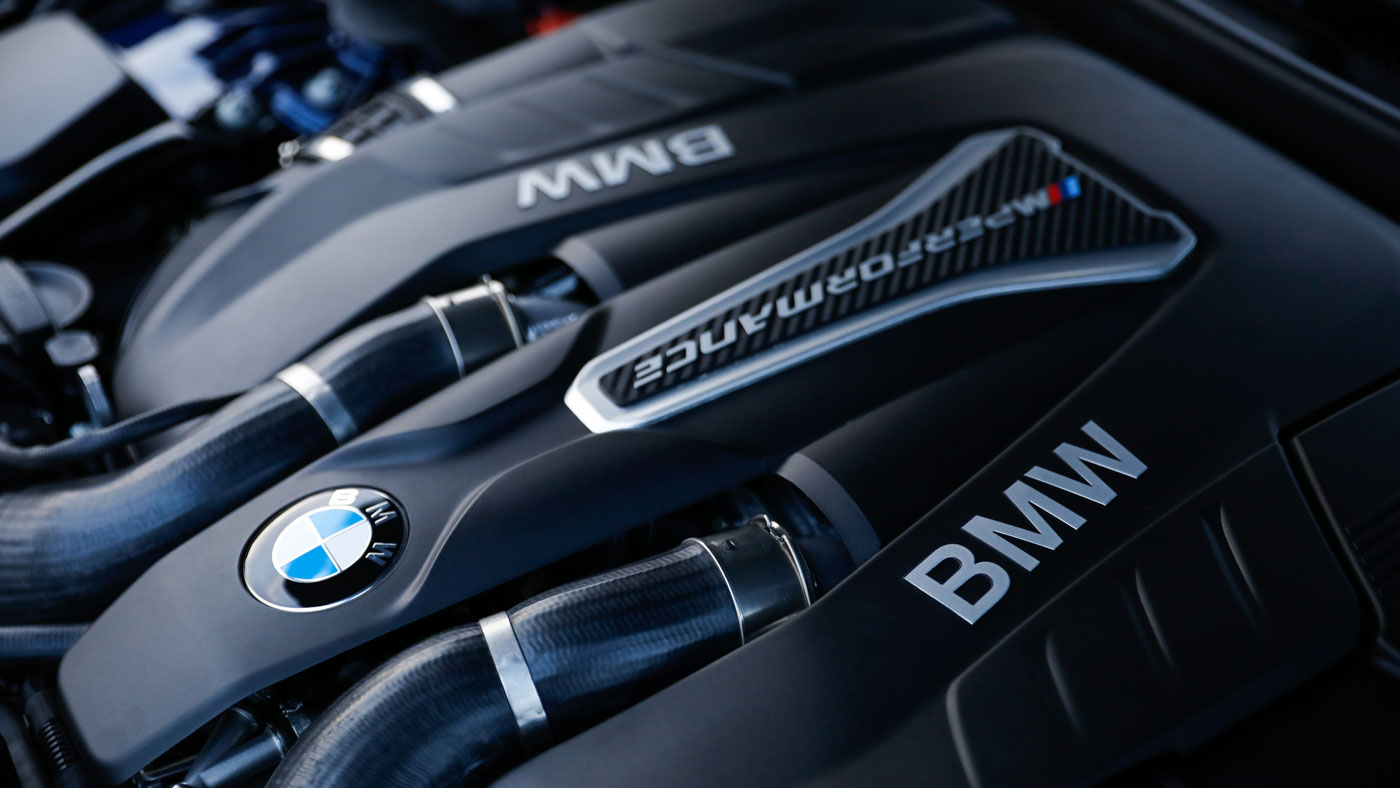 The engine in the Dinan BMW M550i xDrive.