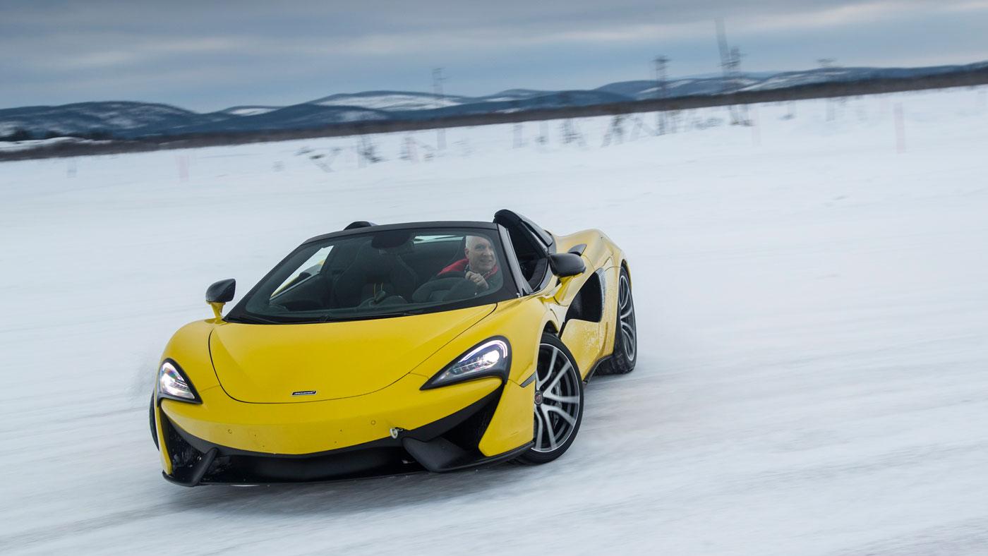 Automotive journalist Dan Carney drifting in a McLaren 570S on a frozen lake.