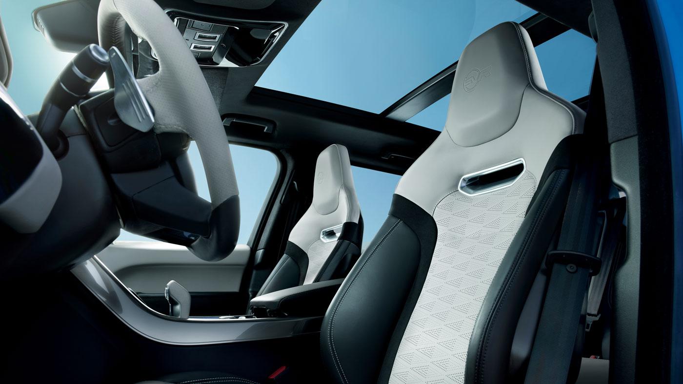 The interior of the Range Rover Sport SVR.