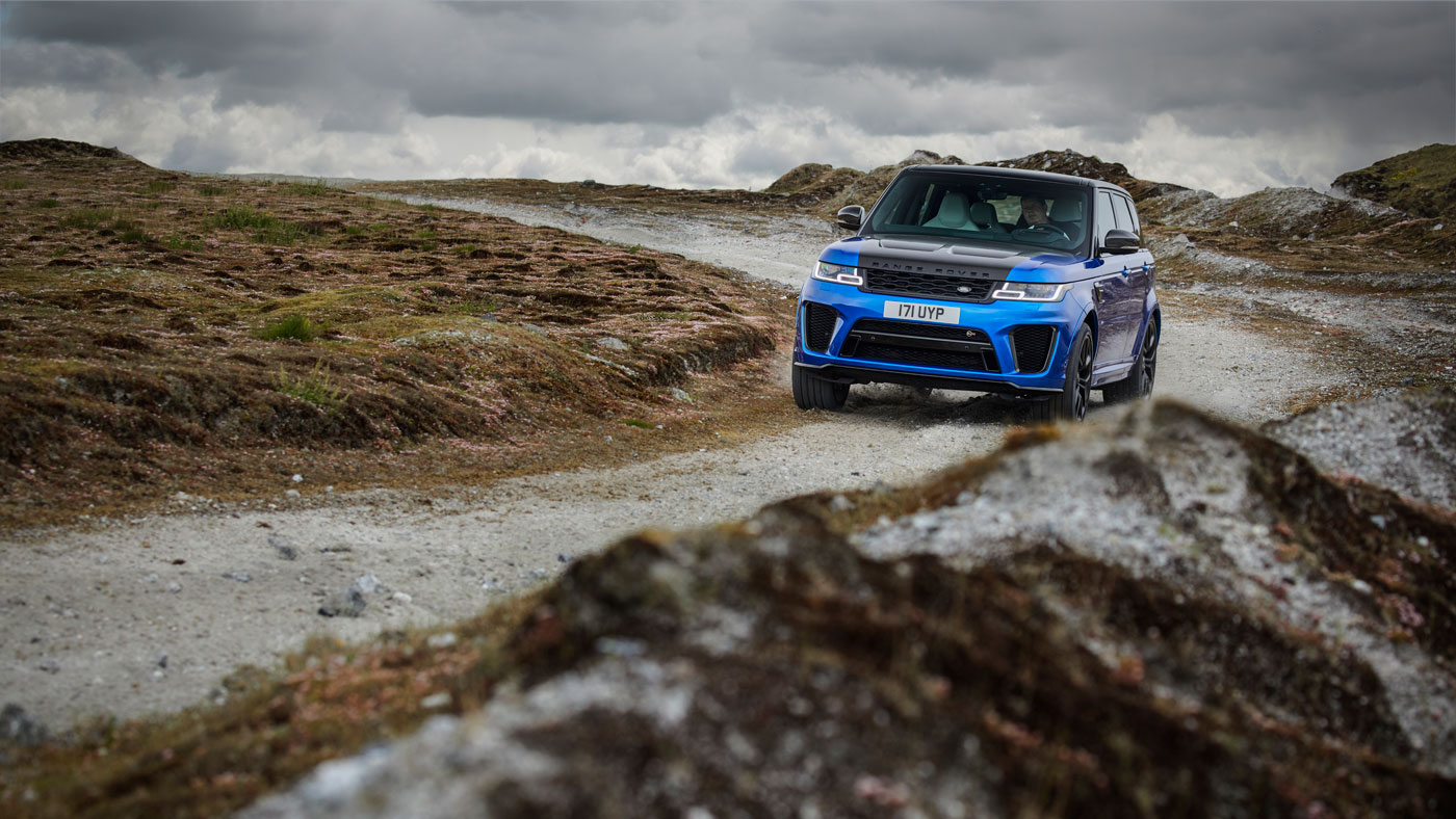 The Range Rover Sport SVR in the countryside.