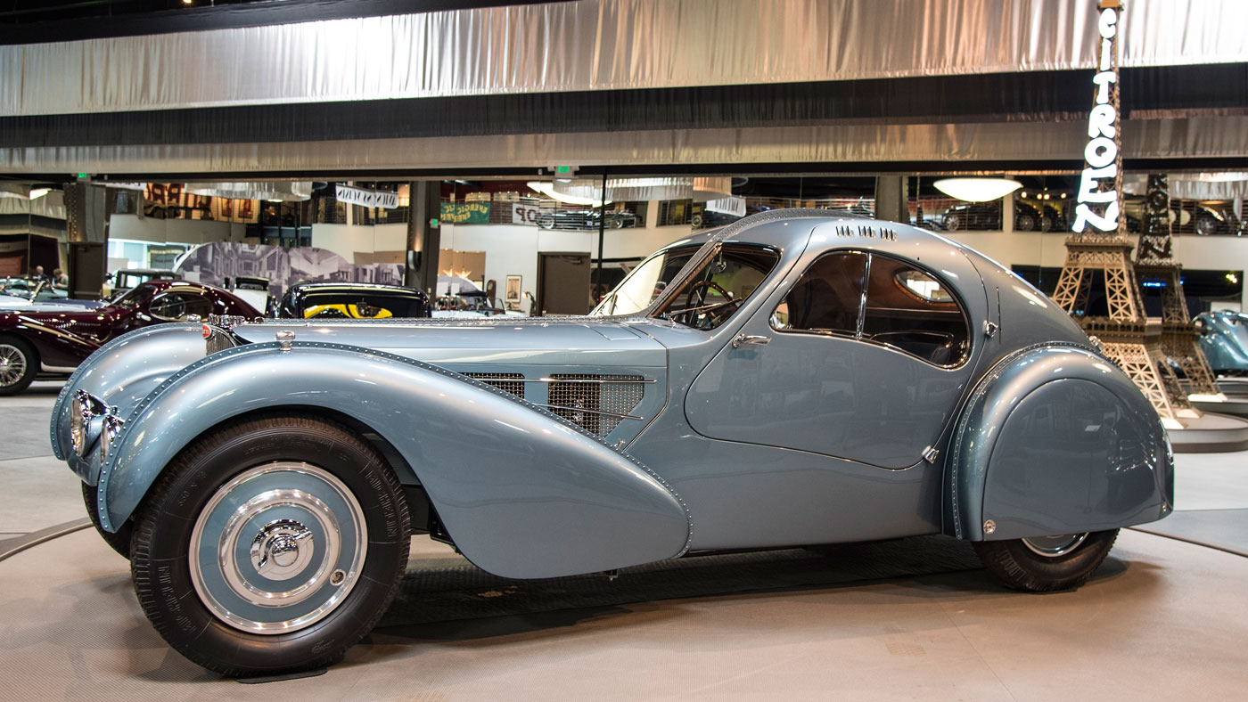 A 1936 Bugatti Type 57C Atlantic at the Mullin Automotive Museum.