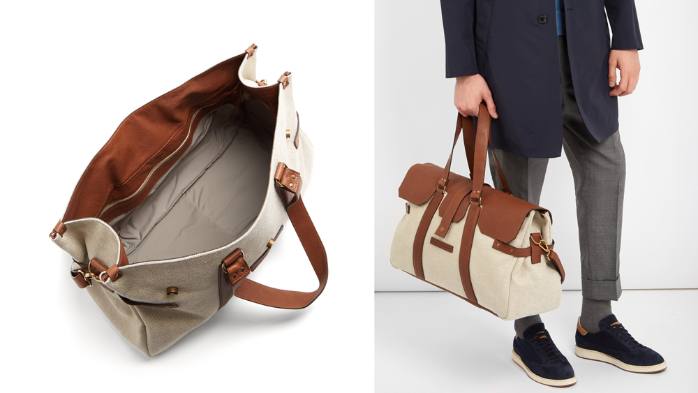 Brunello Cucinelli Canvas and Leather Holdall