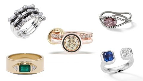 Modern engagement rings from Jemma Wynne, Spinelli Kilcollin, and more.
