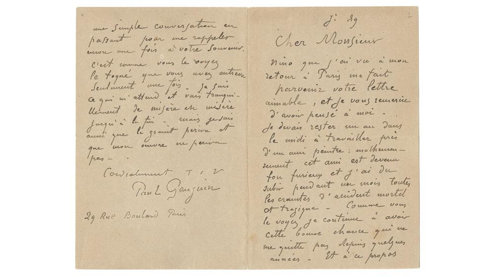 Paul Gauguin letter