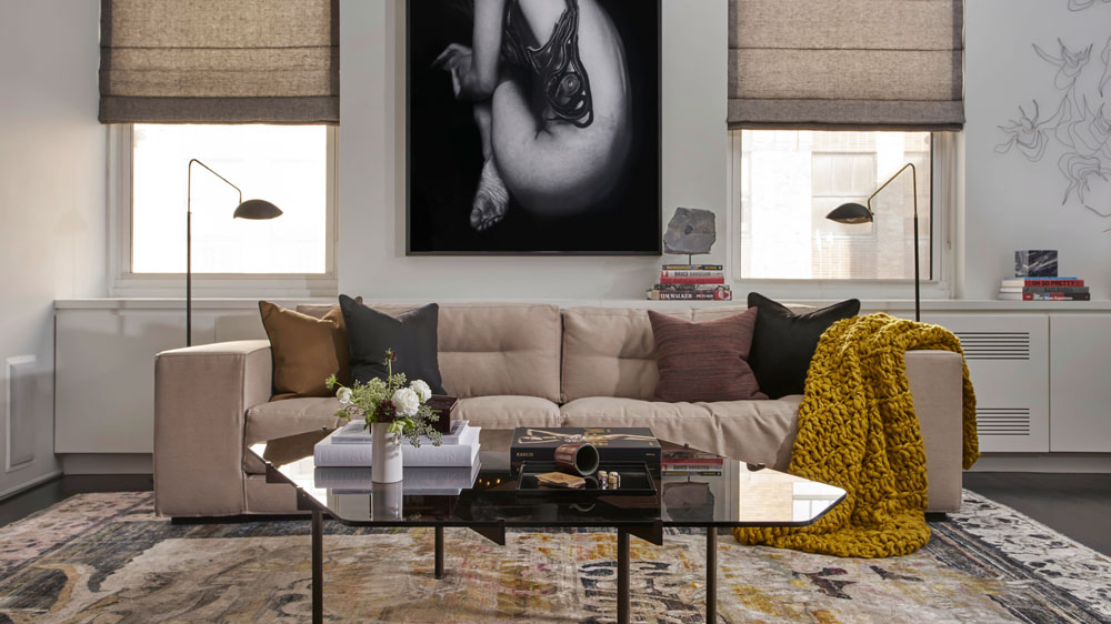 Living room with sofa and art