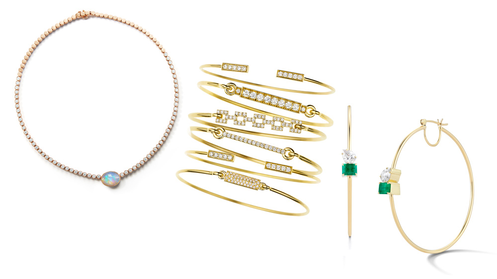 A necklace, open bangles and jeweled earrings from Jemma Wynne.