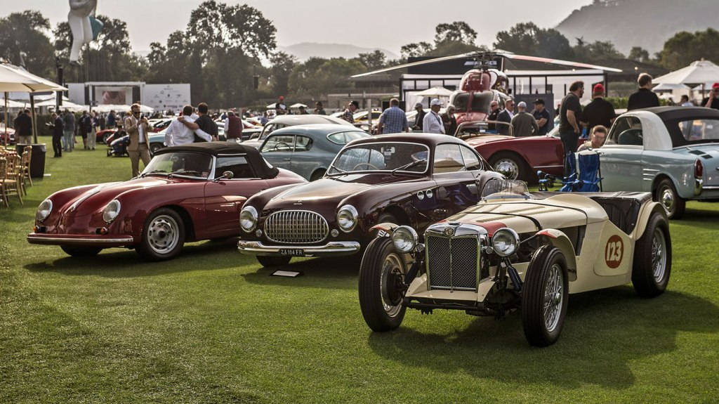 An array of show cars on display at the Quail, a Motorpsorts Gathering.