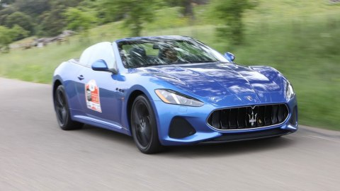A 2018 Maserati GranTursimo convertible cruising in the Drive Toward a Cure road rally.