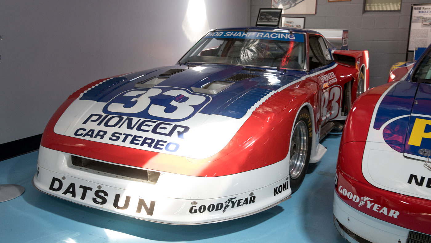 A 933 hp Nissan 280ZX Twin-Turbo V8, raced by Paul Newman and now owned by Adam Carolla.