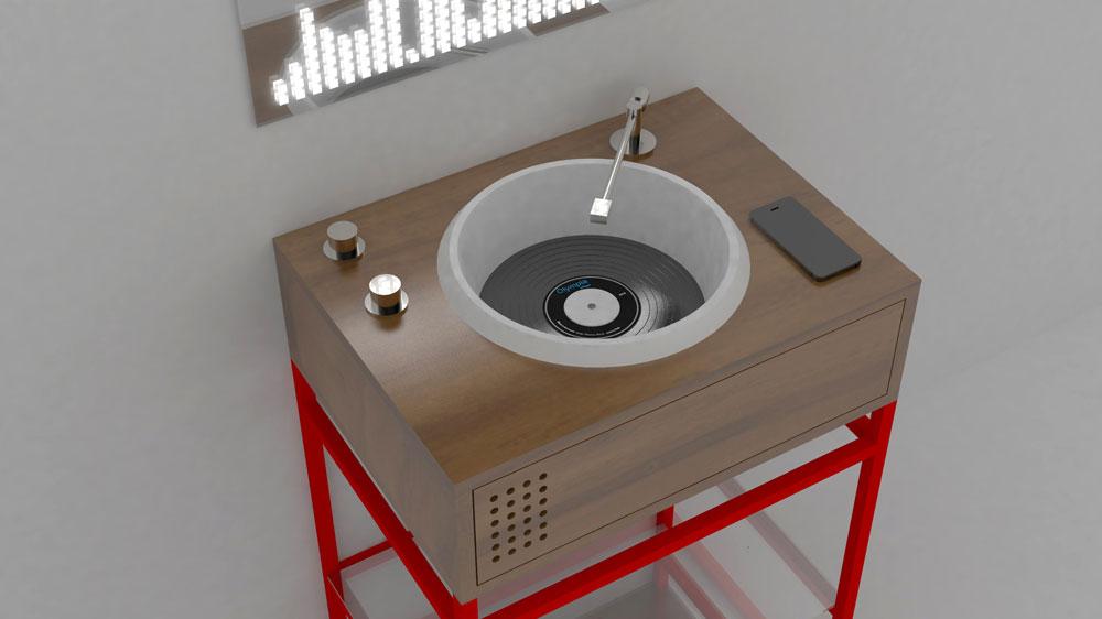 Turntable bath vanity