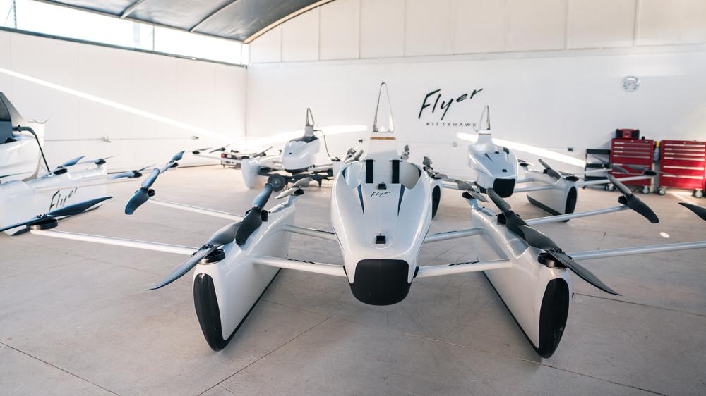 Kitty Hawk Flyers in a hangar