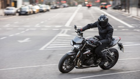 The Triumph Street Triple 765 RS motorcycle.